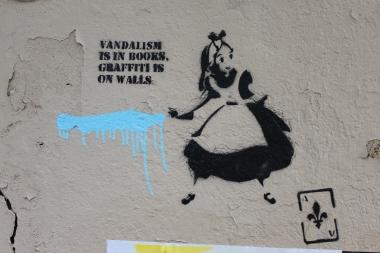 graffiti is on walls